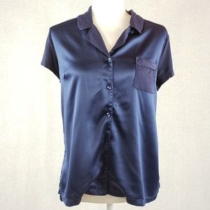 Tahari satin and jersey mixed media button up M